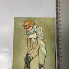 Postales: POSTAL. TOULOUSE-LAUTREC. FEMME QUI TIRE SON BAS, 1894. MUSEE D' ALBI.. Lote 246312020
