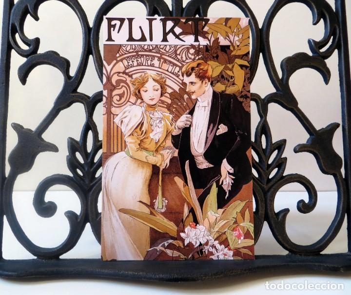 Postales: Postal del cuadro Flirt, de Alphonse Mucha. Tema: Pintura, Modernismo, Art Noveau, Arte. - Foto 3 - 241021240