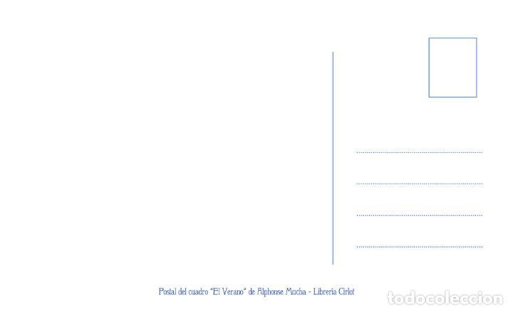 Postales: Postal del cuadro El Verano, de Alphonse Mucha. Tema: Pintura, Modernismo, Art Noveau, Arte, LÉté. - Foto 2 - 241011110