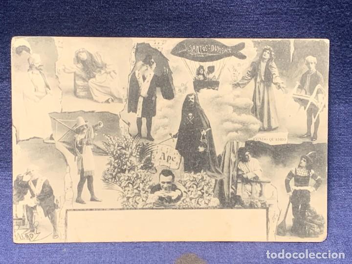 POSTAL COMICOS TROUPE COMEDIANTES ARTISTAS PREGOLI CONDO QUADRO SANTOS DUMONT (Postales - Postales Temáticas - Arte)