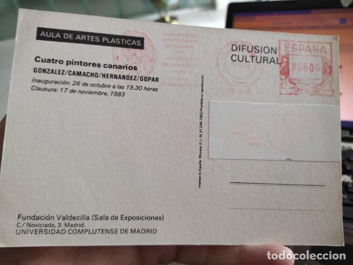 Postales: CUATRO PINTORES TARJETON ARTE EXPO 1983 INAUGURACIÓN GALERIA UCM 18 X 12 CM - Foto 2 - 262751105