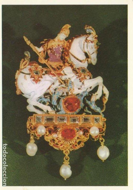 POSTAL - COLGANTE SAN GEORGE / JORGE - PERLAS PIEDRAS PRECIOSAS - REICHENBACH - ALEMANIA - NUEVA (Postales - Postales Temáticas - Arte)
