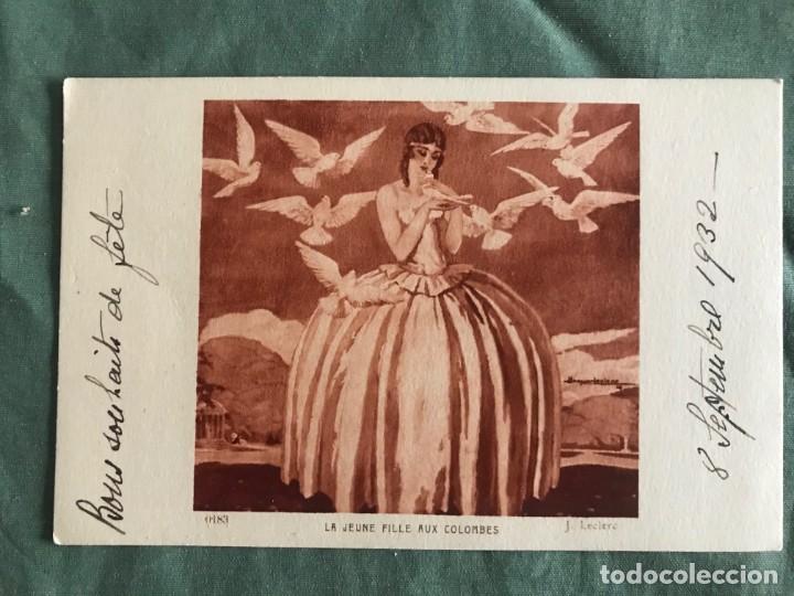 LA JEUNE FILLE AUX COLOMBES . J.LECLERC . BRAUN & CIE 0183, ESCRITA 1932 (Postales - Postales Temáticas - Arte)
