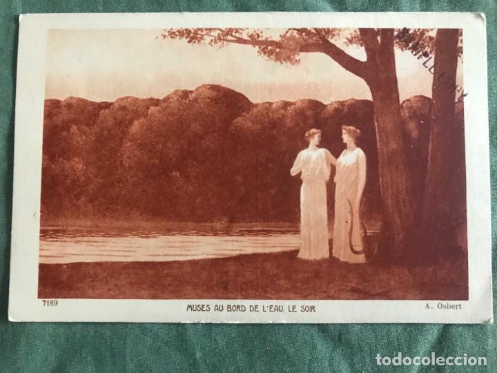 MUSES AU BORD DE L'EAU, LE SOIR. A.OSBERT. BRAUN & CIE 7189, ESCRITA 1931 (Postales - Postales Temáticas - Arte)