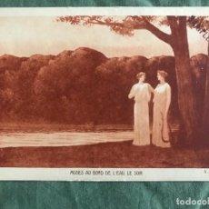Postales: MUSES AU BORD DE L'EAU, LE SOIR. A.OSBERT. BRAUN & CIE 7189, ESCRITA 1931. Lote 263539885