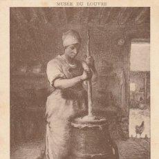 Postales: POSTAL - J.F. MILLET - LA BATTEUSE DE BEURRE / LA BATIDORA DE MANTECA - MUSEO DEL LOUVRE - NUEVA. Lote 263582335
