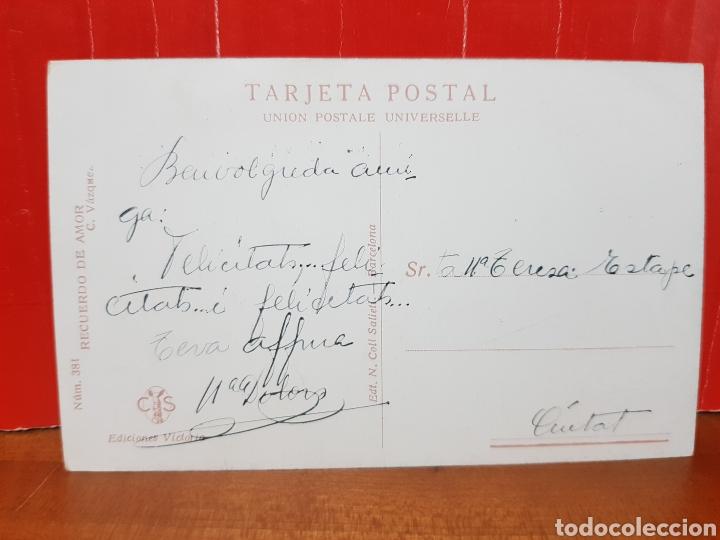 Postales: POSTAL ANTIGUA - RECUERDO DE AMOR EDICIONES VICTORIA N°381 - Foto 2 - 264430714