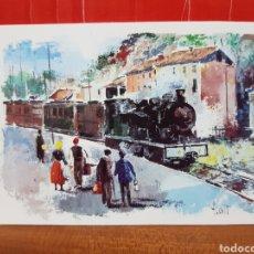 Postales: POSTAL - PINTURA - FERROCARRIL DE GIRONA A OLOT. Lote 264444389