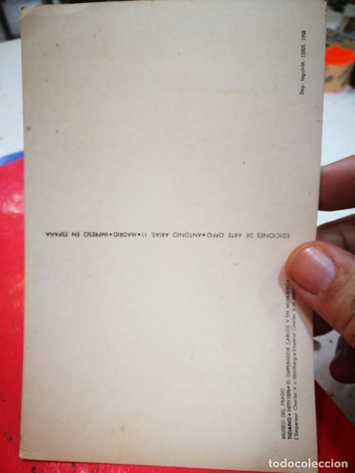 Postales: Postal TIZIANO 1477-1576 El Emperador Carlos V en Muhlberg MUSEO DEL PRADO S/C 1958 - Foto 2 - 268883034