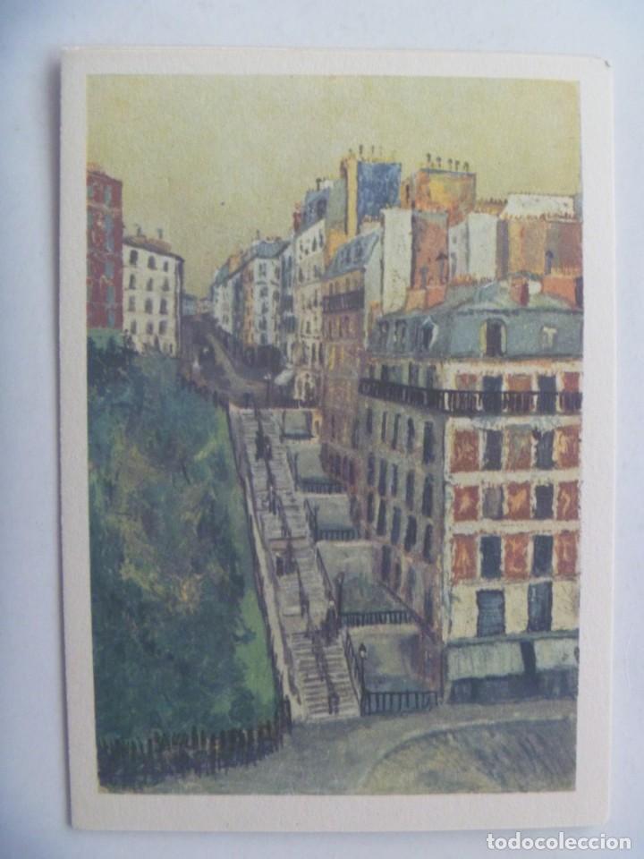 POSTAL CON CUADRO DE M. UTRILLO : LA RUE MULLER , A MONTMARTRE . FRANCIA (Postales - Postales Temáticas - Arte)