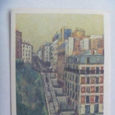Postales: POSTAL CON CUADRO DE M. UTRILLO : LA RUE MULLER , A MONTMARTRE . FRANCIA. Lote 278231498