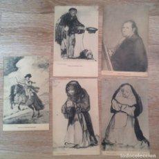 Postales: LOTE DE 5 POSTALES ANTIGUAS DE GOYA - FOTOTIPIA DE HAUSER Y MENET. COLECCION LAZARO. Lote 287646348