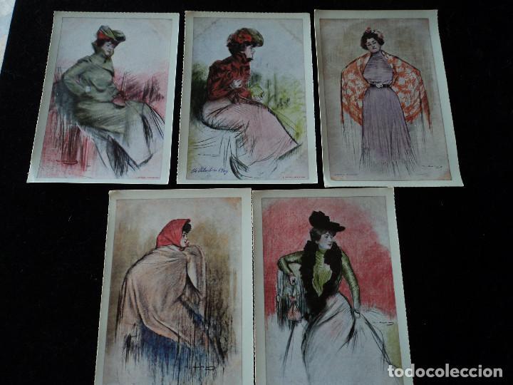 5 POSTALES, ILUSTRACIONES DE RAMÓN CASAS, EDITORIAL ANTALBE, 16 X 10 CM (Postales - Postales Temáticas - Arte)