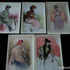 Postales: 5 POSTALES, ILUSTRACIONES DE RAMÓN CASAS, EDITORIAL ANTALBE, 16 X 10 CM. Lote 288542753
