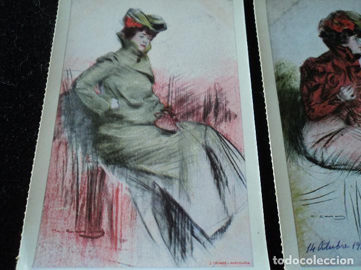 Postales: 5 postales, ilustraciones de Ramón Casas, Editorial Antalbe, 16 x 10 cm - Foto 4 - 288542753