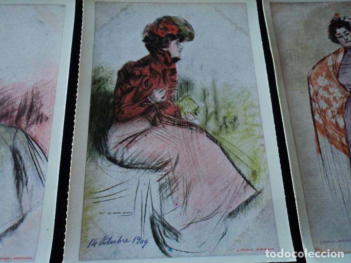 Postales: 5 postales, ilustraciones de Ramón Casas, Editorial Antalbe, 16 x 10 cm - Foto 5 - 288542753