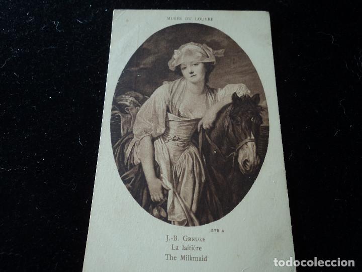 LA LAITIERE ,J.B. GREUZE, MUSEE DU LOUVRE, 372 A, BRAUN & CIE. (Postales - Postales Temáticas - Arte)