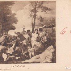 Postales: LA BACANAL DE TIZIANO. ED. HAUSER Y MENET SERIE PINTURA Nº 657. REVERSO SIN DIVIDIR. Lote 288717603