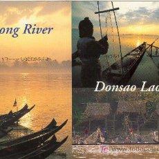 Postales: LAOS KHONG RIVER DOSAO LAOS RIO CON BARCA Y PESCADORES CABAÑAS CON SELLOS POSTES LAO . Lote 7715801