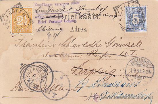 Postales: BUITENZORG EN 1898 (INDIAS ORIENTALES HOLANDESAS). RARA POSTAL CIRCULADA A LEIPZIG Y REENVIADA. - Foto 2 - 30947779