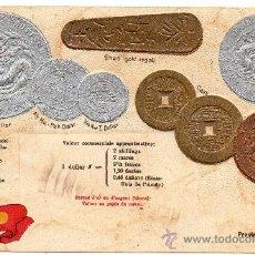 Postales: CHINA, POSTAL NUMISMATICA EN RELIEVE, PROVINCES KWANG-TUNG Y HU-PEH. Lote 33224036