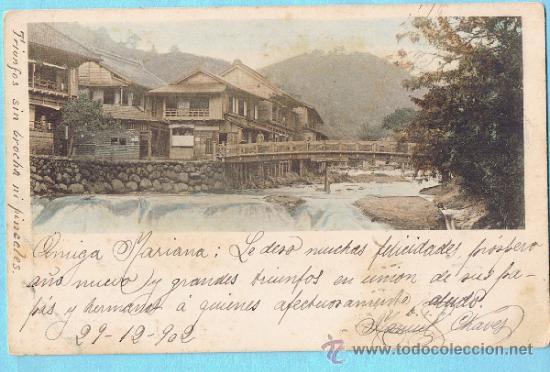 PAISAJE CON RÍO. JAPÓN. UNION POSTALE UNIVERSELLE. REV SIN DIVIDIR. CIRCULADA, 1902 (Postales - Postales Extranjero - Asia)
