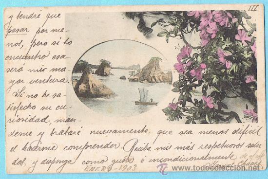 FLORES Y PAISAJE. JAPÓN. UNION POSTALE UNIVERSELLE. REV SIN DIVIDIR. CIRCULADA EN SOBRE, 1903 (Postales - Postales Extranjero - Asia)