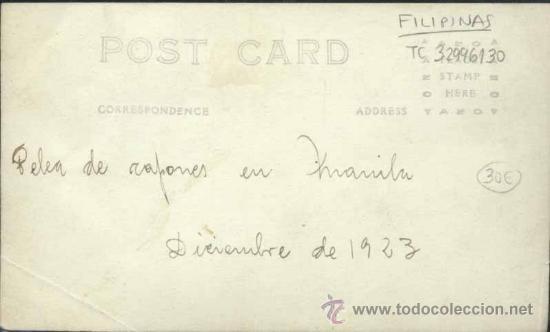 Postales: MANILA (FILIPINAS).- FOTOGRAFÍA AÑO 1923.- PELEA DE CAPONES - Foto 2 - 32996130