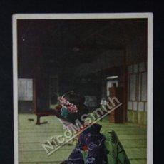Postales: ANTIGUA POSTAL ORIGINAL DE ÉPOCA - GEISHA PREPARANDO TE - JAPON - FECHADA KOBE AÑO 1919 - REF177. Lote 35533621
