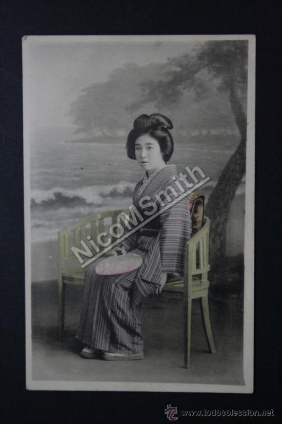 ANTIGUA POSTAL ORIGINAL DE ÉPOCA - GEISHA SENTADA - JAPON - KOBE AÑO 1919 - GEISHA REF180 (Postales - Postales Extranjero - Asia)