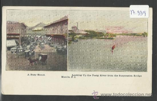 MANILA - A BUSY STREET - RIVER - MANILA PI - (17339) (Postales - Postales Extranjero - Asia)
