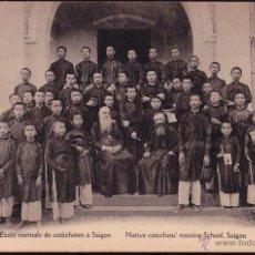 Postales: TONKIN VIETNAM ESCUELA DE CATEQUISTAS EN SAIGO CA. 1910. Lote 45676718