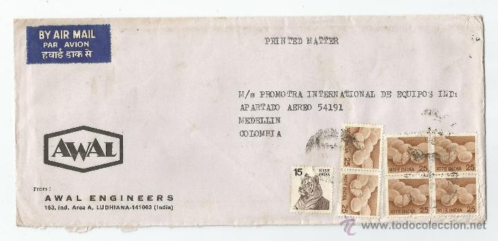 CORREO COMERCIAL DE LA INDIA A COLOMBIA (Postales - Postales Extranjero - Asia)