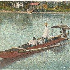 Postales: ANTIGUA POSTAL FILIPINAS NATIVOS CRUZANDO EL ARROYO MANILA PHILIPPINE ISLANDS. Lote 58229871