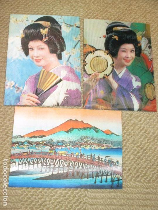 TRES POSTALES TRIDIMENSIONALES ANTIGUAS DE TIPOS Y ESCENAS DE JAPÓN, POSTALES 3D (Postales - Postales Extranjero - Asia)