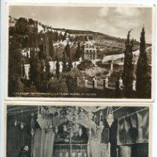 Postales: ISRAEL. TIERRA SANTA. JERUSALEN MONTE DE LOS OLIVOS Y BELÉN GRUTA DE LA NATIVIDAD, DOS POSTALES. Lote 95771151