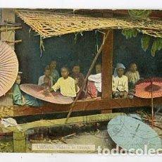Postales: BIRMANIA RANGOON. UMBRELLA MAKERS IN BURMA. CIRCULADA EN 1913. Lote 98166759