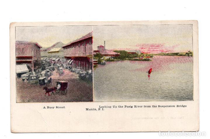 FILIPINAS.- MANILA .- A BUSY STREET - RIVER - MANILA PI (Postales - Postales Extranjero - Asia)