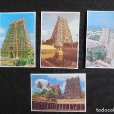Postales: LOTE DE 4 POSTALES DE MADURAI - TAMIL NADU EN LA INDIA. TEMPLO DE SRI MEENAKSHI. Lote 114980699