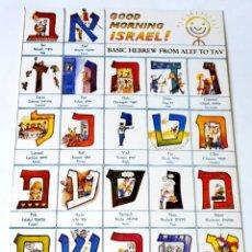Postales: GOOD MORNING ISRAEL! BASIC HEBREW FROM ALEF TO TAV . Lote 130117107
