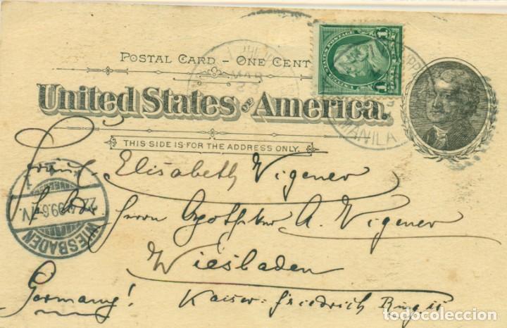 Postales: LOS SALUDOS DE FILIPINAS MANILA. PHILIPPINES. CIRCULADA EN 1899. PIEZA EXCEPCIONAL, ÚNICA. - Foto 2 - 136112370