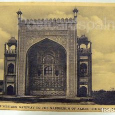 Postales: INDIA THE HANDSOME GATEWAY TO THE MAUSOLEUM OF AKBAR THE GREAT - AGRA. Lote 147305210