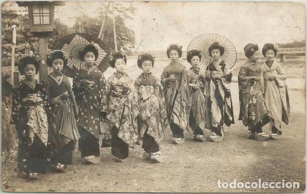 POSTAL ANTIGUA GRUPO MUJERES JAPONESAS JAPON 1928 ANIMADA (Postales - Postales Extranjero - Asia)