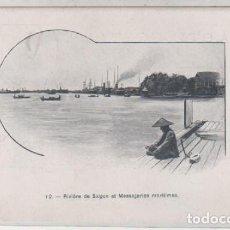 Postales: 12 RIVIERE DE SAIGON ET MESSAGERIES MARITIMES. CONCHINCHINA. SAIGON. REVERSO SIN DIVIDIR. . Lote 170856060