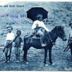 Postales: PS8270 MANILA. MORO DATTO AND BODY GUARD. BINGHAM AND CO. CIRCULADA. 1911. Lote 179951873