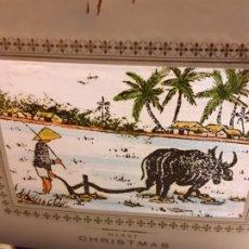 Postales: FELICITACION DE NAVIDAD DE VIETNAN EN PAPEL DE SEDA PINTADO. Lote 188430652