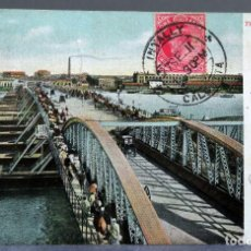 Postales: POSTAL HOOGHLY BRIDGE CALCUTA INDIA GBV GHONI SIN DIVIDIR CIRCULADA SELLO 1911. Lote 195303251
