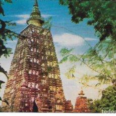 Postales: POSTAL INDIA CON MATASELLOS THE TEMPLE OF LORD BUDDHA, GAYA MEERAT CITY. Lote 207015606