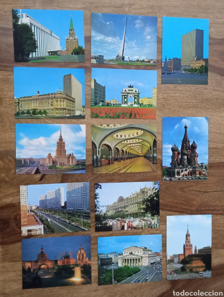 Postales: Conjunto 13 postales de Moscú en su carpeta - Foto 3 - 262945990