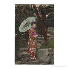 Postales: ANTIGUA POSTAL JAPÓN MUJER TRADICIONAL JAPONESA KIMONO GEISHA - SIN CIRCULAR AÑOS 1910. Lote 264289232